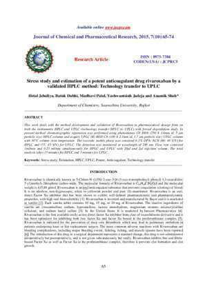 Research Article ISSN : 0975-7384 CODEN(USA) : JCPRC5