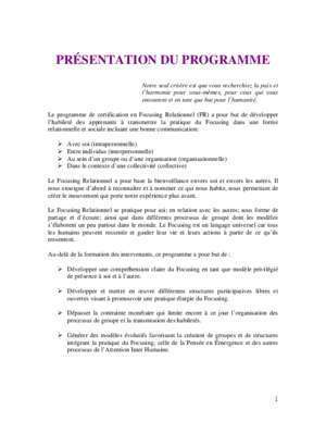 2ieme tour 2012 : Programme de formation en Focusing Relationnel