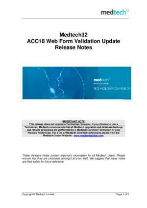 ACC18 Web Form Validation - Update Release Notes