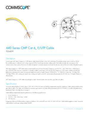 70 640 f : 640 Series CMP Cat 6a F UTP Cable Product Sheet