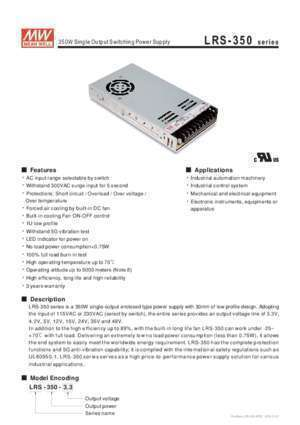 350 h : 350W Single Output Switching Power Supply LRS-350