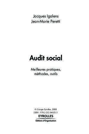 Audit social management : Auditsocial Librairie Eyrolles