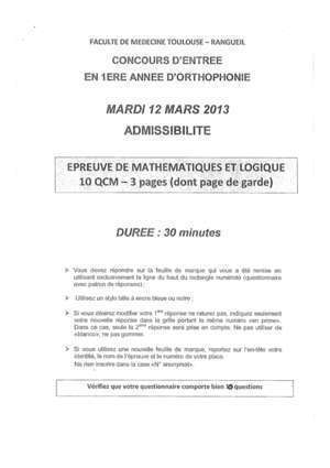 Annales concours orthophoniste : Ortho maths Toulouse 2013-1 e-orthophonie fr