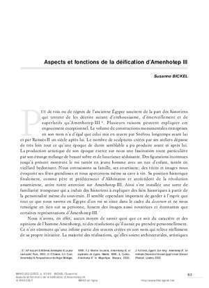 Aspects et fonctions de la déification d'Amenhotep III - Ifao