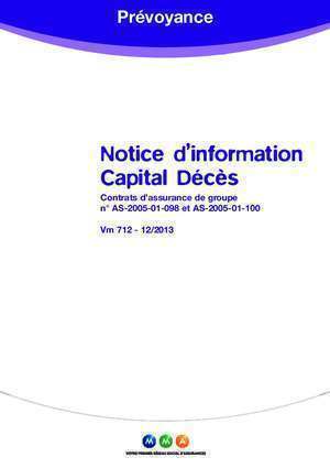 Capital deces 712a : Notice d information Capital Décès
