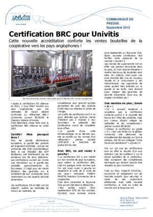 Brc 2012 : Univitis certification BRC