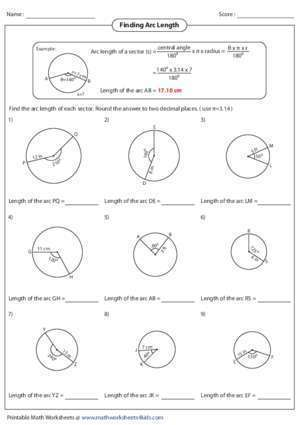 Arc et angle : Finding Arc Length Math Worksheets 4 Kids