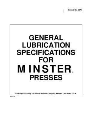 GENERAL LUBRICATION SPECIFICATIONS FOR MINSTER