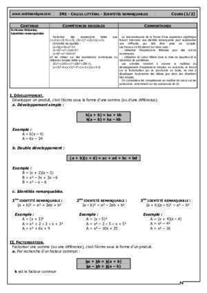 3n1 calcul littral : 3n1 crs Maths en ligne