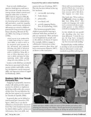 A question of tast : Purposeful Play Leads to School Readiness SECA