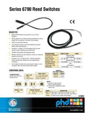 Series 6790 Reed Switches - PHD Inc