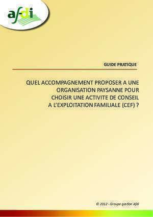 Organisation paysanne : QUEL ACCOMPAGNEMENT PROPOSER A UNE ORGANISATION