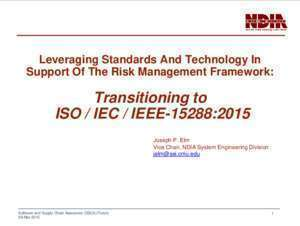 15288 a : Transitioning to ISO IEC IEEE-15288 2015