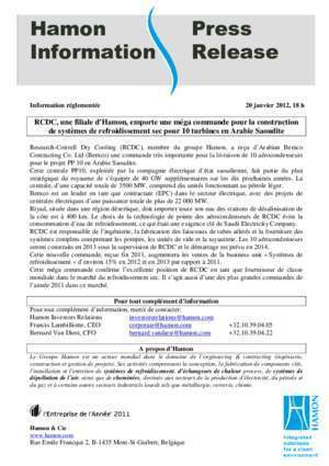 Aerocondenseur : Hamon Press Information Release