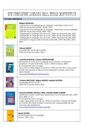 BIBLIOGRAPHIE LANGAGE ORAL ECOLE MATERNELLE