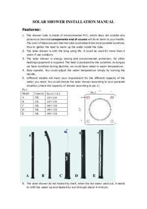 40664 : SOLAR SHOWER INSTALLATION MANUAL Gre