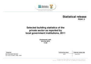 Selected building statistics of the private sector