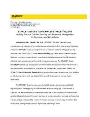Stanley : STANLEY SECURITY ANNOUNCES STANLEY GUARD Mobility Solution