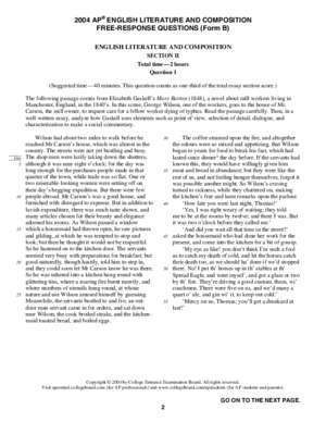 2004 AP English Literature and Composition Free-Response