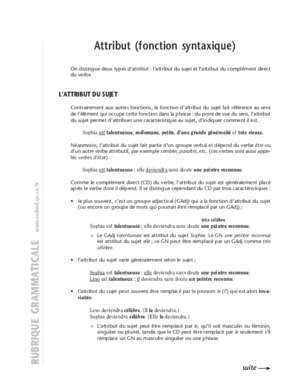 Adjectif attribut 12 : Attribut (fonction syntaxique) CCDMD