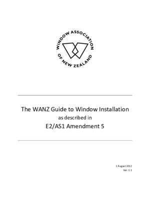 As1 2012 : The WANZ Guide to Window Installation