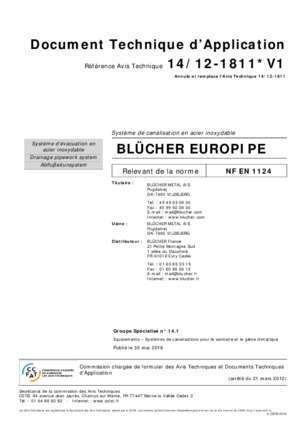 Bluecher : Document Technique d Application BLÜCHER EUROPIPE CSTB