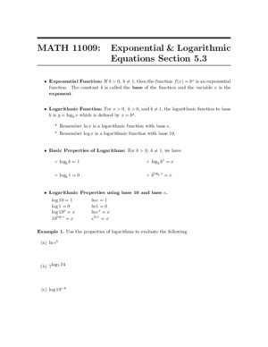 11009 0 : MATH 11009 Exponential & Logarithmic Equations Section 5