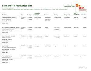 Film and TV Production List www.ubcp