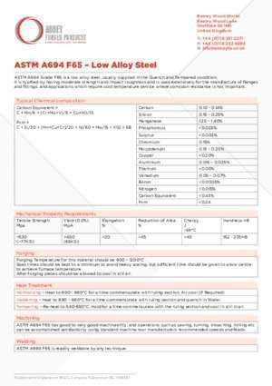ASTM A694 F65 - Low Alloy Steel - Abbey Forged