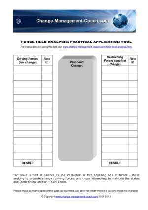 Coach : FORCE FIELD ANALYSIS PRACTICAL APPLICATION TOOL
