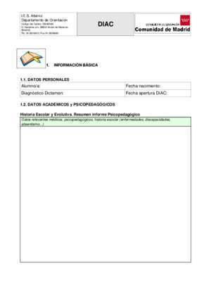 Adaptacion curricular : Documento Individual de Adaptación Curricular DIAC