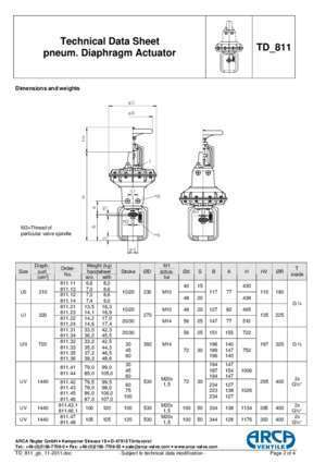 Technical Data Sheet TD 811 pneum. Diaphragm Actuator