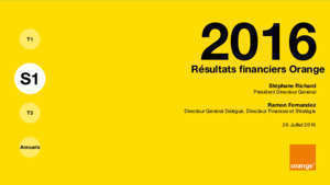 Orange : Résultats financiers H1 2016 Orange com