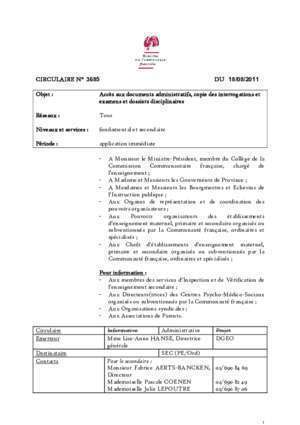 13 08 2011 : CIRCULAIRE N° 3685 DU 18 08 2011 Enseignement be