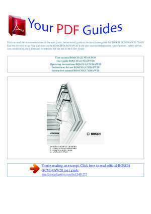 Operating instructions BOSCH GCM34AW20 - yourpdfguides.com ...