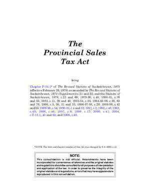 P34 : The Provincial Sales Tax Act, S S c P-34 1 Saskatchewan