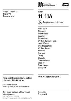 11a 4 : From 4 September 11 and 11A 11 11A Times changed