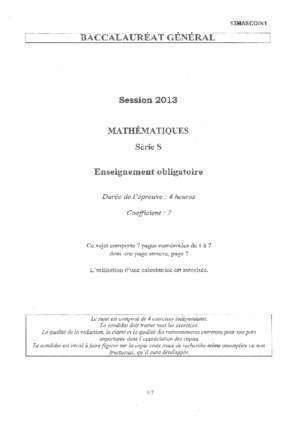 1 bac sm maths : Math matique Obligatoire 2013 Sujet de bac
