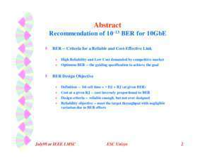 Dr chang : Recommendation of 10 ^-13 Bit Error Rate for 10 Gigabit