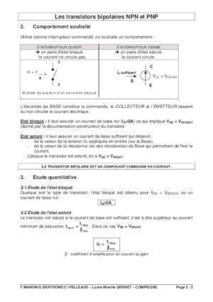 Amplificateur a transistor base commun : Synthese transistors bipolaires gilles berthome free fr