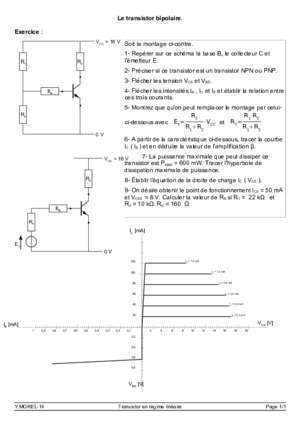Exercices corig transistors bipolaire : Le transistor bipolaire Exercice Soit le montage ci-contre 1
