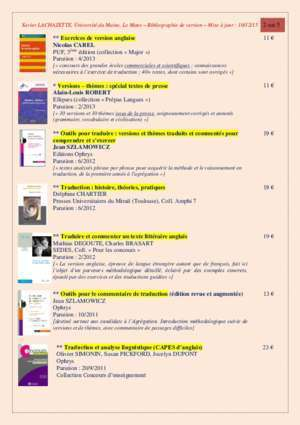 Version anglaise : pratique, commentaire,