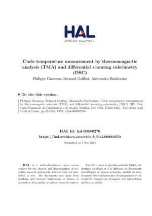 Curie temperature measurement by thermomagnetic analysis - Hal