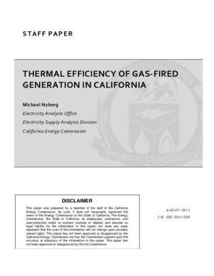 THERMAL EFFICIENCY OF GAS FIRED GENERATION IN CALIFORNIA