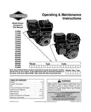 Briggs  stratton 5hp 206 cc : Operating & Maintenance Instructions Small Engine Warehouse