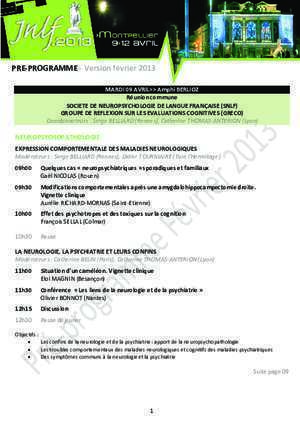 Abord neurochirurgical : PRE-PROGRAMME Version février 2013