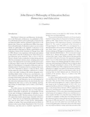 John Dewey's Philosophy of Education Before