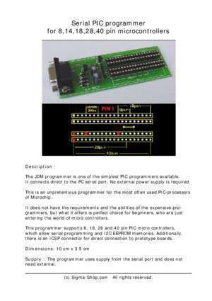 18f452 : Serial PIC programmer for 8,14,18,28,40 pin