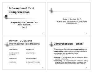 Anita blake : Informational Text Comprehension California