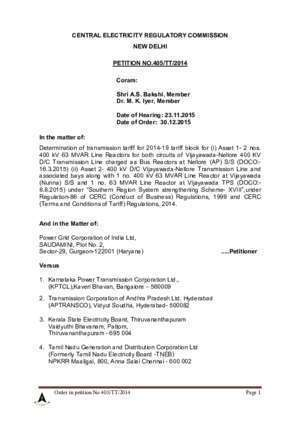 CENTRAL ELECTRICITY REGULATORY COMMISSION PETITION NO.405